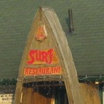 The Surf Restaurant in Balm Beach had a jaunty longboat-style entrance