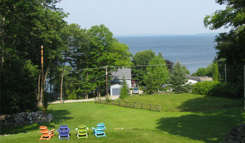 View of Georgian Bay from the lush front lawn