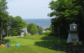 View from the patio, taken in the afternoon (note the small lighthouse in the shadows to the right)