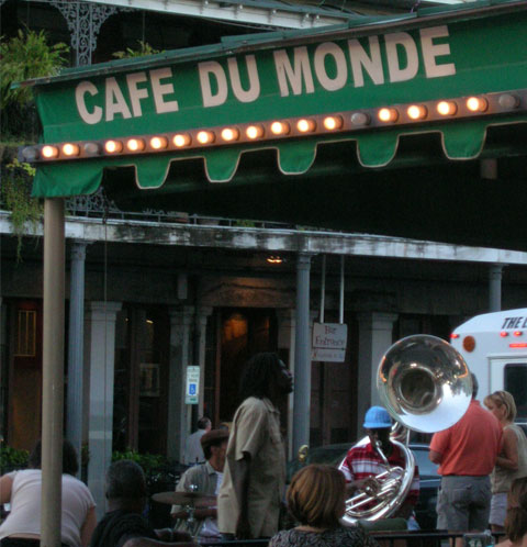 Serenaded by a tuba player at Cafe du Monde