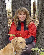 Owner Carla Carlson with her dog Cedar