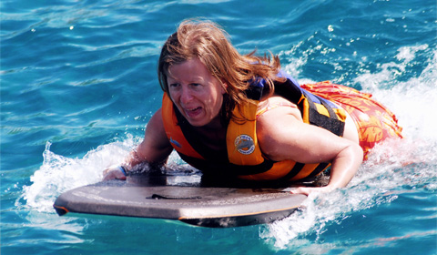 Being pushed by a dolphin on a boogie board = FUN!