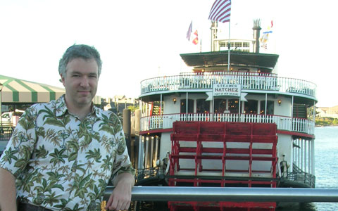 Brian on the waterfront with the Natchez Steamer