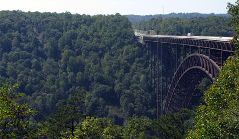 The New River Gorge Bridge, just above Fayette Station Rapids