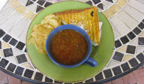 Grilled Turkey sandwich with red pepper & ground beef soup