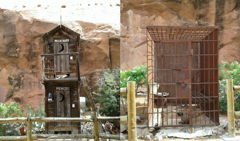 The outhouse and the jail cell, Hole in the Rock, Utah
