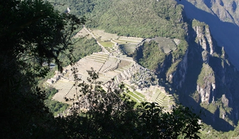 A view of Machu Picchu from about one third of the way up Huayna Picchu.