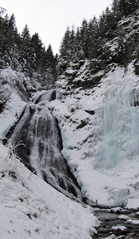 An ice wall formed next to the waterfall