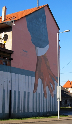 Art on the walls of downtown Miskolc