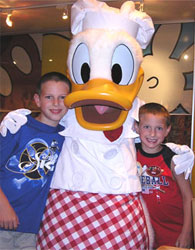 Hugging Donald Duck at Walt Disney World