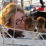 Kota the boat dog and Vicki Lathom