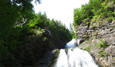 Flying fox above Bridal Veil Waterfall, Transylvania