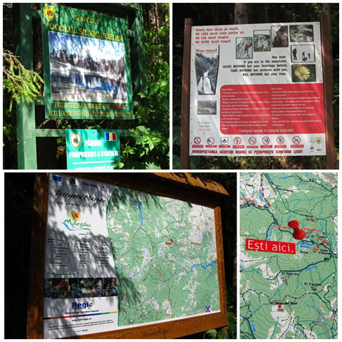 Signs at Bridal Veil Waterfall, Transylvania