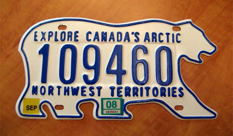 The original Northwest Territories license plate