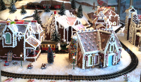 Gingerbread village railroad