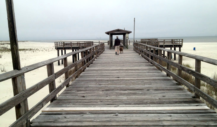 The Dauphin Island Fishing Pier, which lost its water
