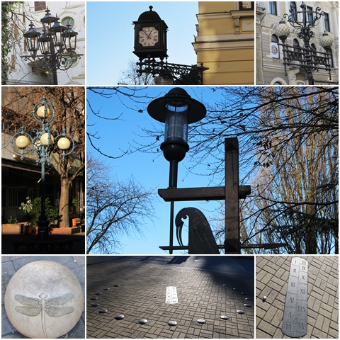 Street lamps, the corner clock and a sidewalk calendar