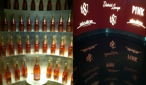 """Champagne display in """"Pink"""" one of the adult bars."""