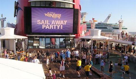 Sail-Away party on the Disney Wonder