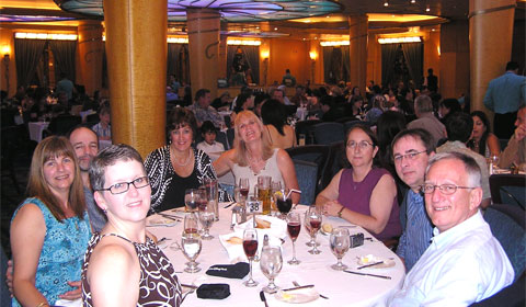 Disney friends at dinner on board Disney Wonder