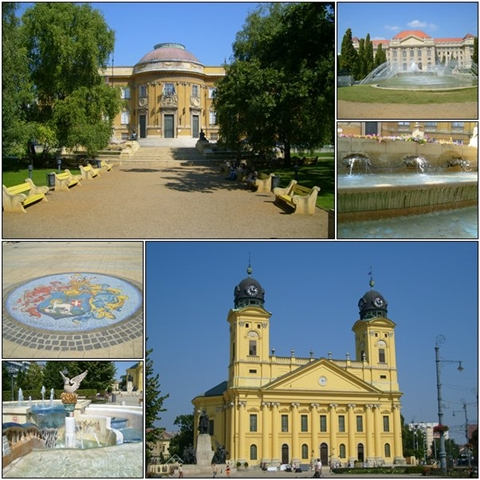 Downtown Debrecen, the University (top right), and the Déri Museum (top left).