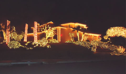 Encinitas, California home all lit up for the holidays