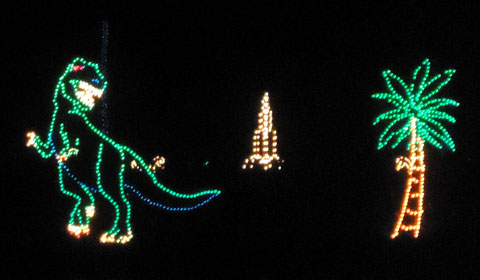 Nothing says Christmas like a T-Rex and a palm tree