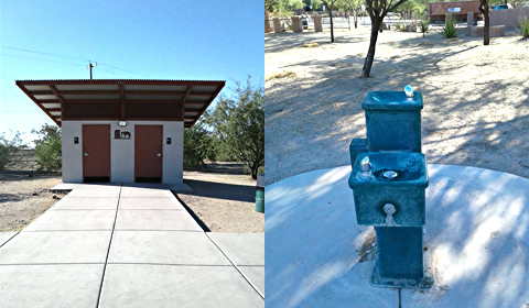 Public toilets and water fountain, Rio Vista Natural Resource Park, Tucson, Arizona
