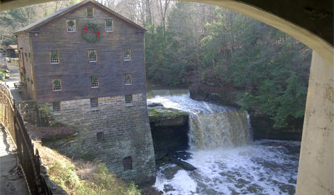 Lanterman's Mill at Christmas time