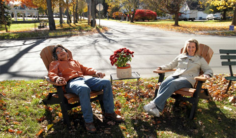 The owners of The Village Pantry enjoying their Adirondacks and the colors of autumn in Poland, Ohio