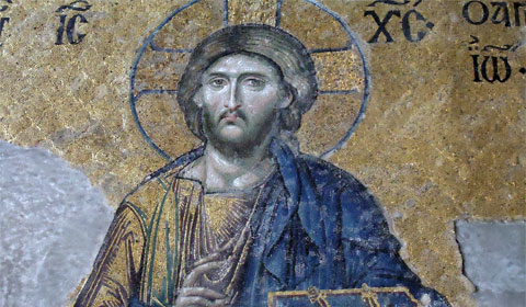 Jesus captured in mosaic, Hagia Sophia