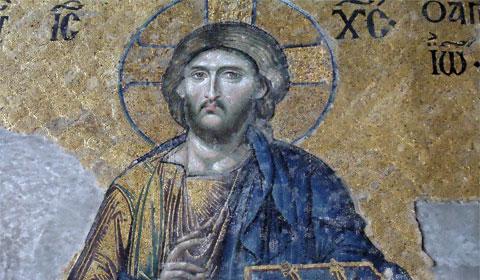 Jesus captured in mosaic, Hagia Sophia