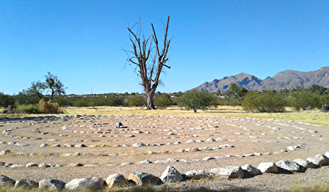 Labyrinth with a view: Rio Vista Natural Resource Park, Tucson, Arizona (and how to find this labyrinth, which is well-hidden)