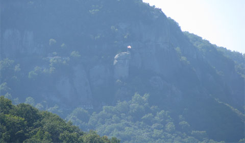 Chimney Rock seen from Lake Lure