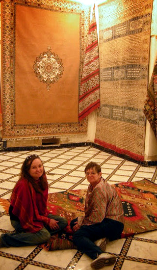 Leigh and Marsha at the Chebs' carpet shop: Magic carpet ride!