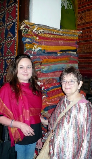 Leigh and Marsha in the Kingdom of Carpets, Fez