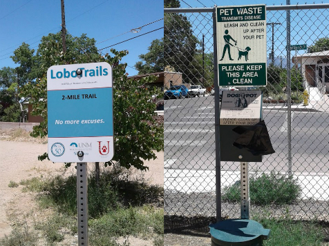Lobo Trails Albuqerque Gold Trail 2-mile walking track with pet waste disposal