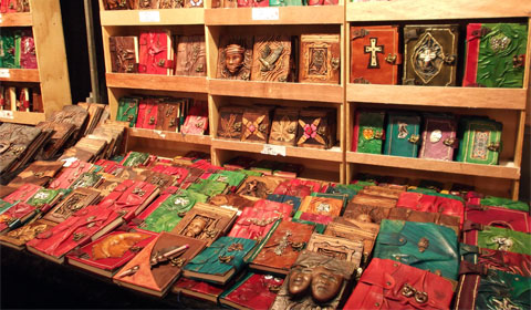 Leather bound notebooks, Jubilee Market