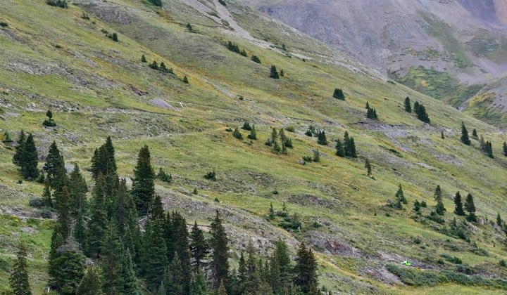 Looking from Animas Forks back up to Cinnamon Pass.