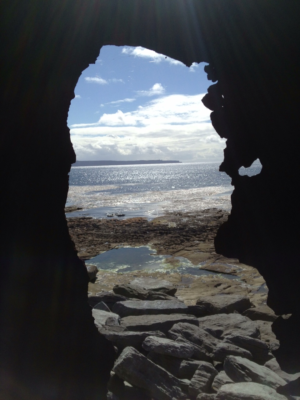 Looking out of shipwreck to Cliffs of Moher
