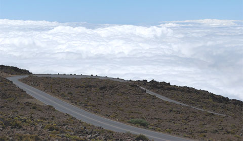 Road to volcano in the clouds, Maui
