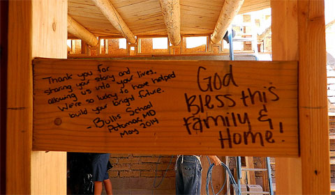 Messages of support for the Mares  Family, to be sealed into the house for posterity