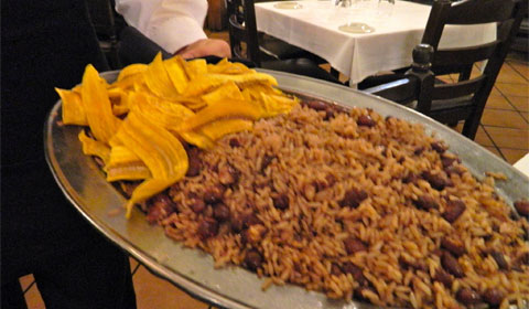Plantain chips, beans and rice
