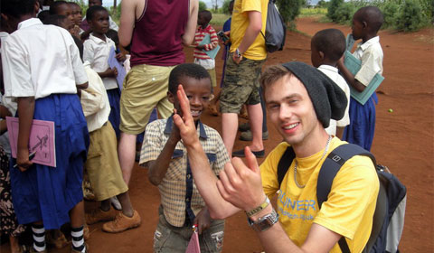 James Barnett with Tanzanian schoolkids