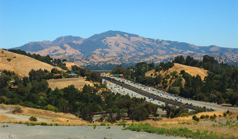 View of Mt. Diablo from Lafayette, Hwy 24 (Wikipedia)