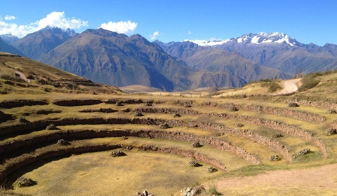 One of the series of terraces at Moray, with the Andes in the background.