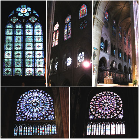 Stained glass and rose windows of Notre Dame