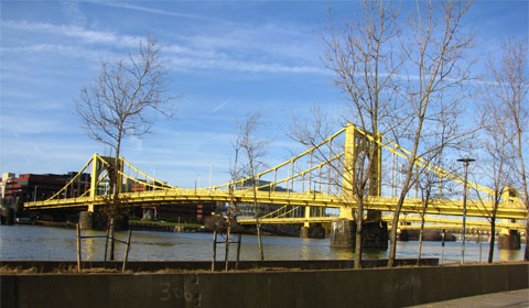 Golden bridges, downtown Pittsburgh