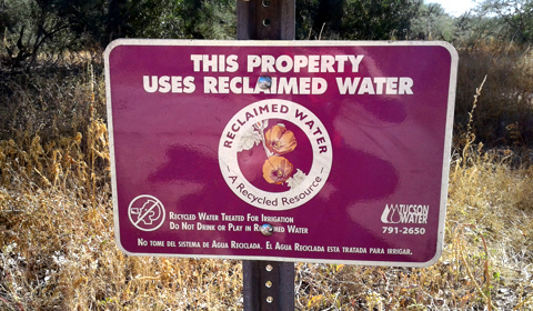 This Property Uses Reclaimed  Water, Rio Vista Natural Resources Park, Tucson, Arizona