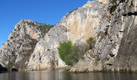 Winter boating on Lake Matka in beautiful Matka Canyon, Skopje